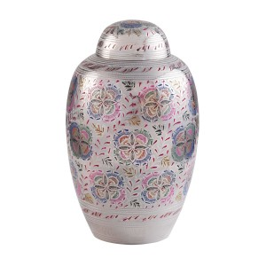 Graceful Bloom Brass Cremation Ashes Urn