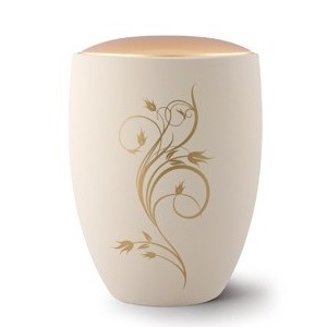 Seville Ceramic Cremation Ashes Urn – Cream with Antique Gold Floral Design & Lid