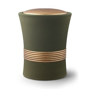 Luxian Ceramic Cremation Ashes Urn – Olive with Antique Gold Stripes & Lid
