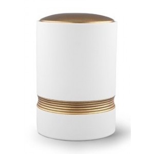 Linea Ceramic Cremation Ashes Urn – White with Antique Gold Stripes & Lid