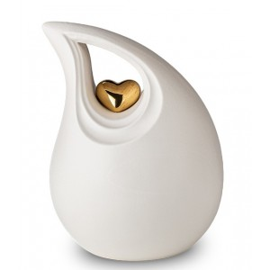 Ceramic Urn - Teardrop (Purity White with Gold Heart Motif)