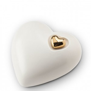 Medium Heart Shape Ceramic Urn (Purity White with Gold Heart Motif)