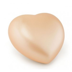 Ceramic Heart Shape Small Cremation Ashes Urn – CHERISHED APRICOT - Capacity 0.5 Litres