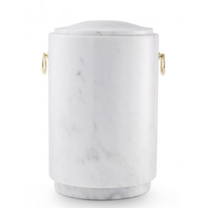 Marble Natural Asian Stone Cremation Ashes Urn / Casket – Light Carrera Turned from Blocks & Gold Rings