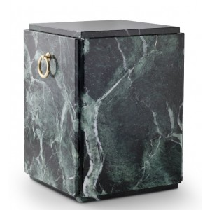 Marble Serpentinite Stone Cremation Ashes Urn / Casket – Shades of Green / Black – Sarcophagus Upright
