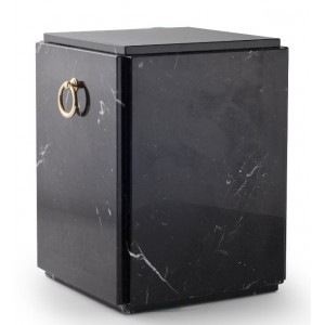 Marble Nero Marquina Stone Cremation Ashes Urn / Casket – Shades of Black / White– Sarcophagus Upright