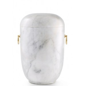 Marble Natural Asian Stone Cremation Ashes Urn / Casket – Carrera Light Coloured & Gold Rings