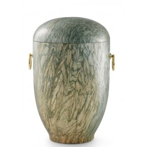 Marble Natural Asian Stone Cremation Ashes Urn / Casket – Carrera Jade Green Coloured & Gold Rings