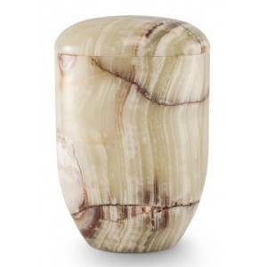 Marble Natural Asian Stone Cremation Ashes Urn / Casket – Anemos Onyx Textured - Turned & Polished