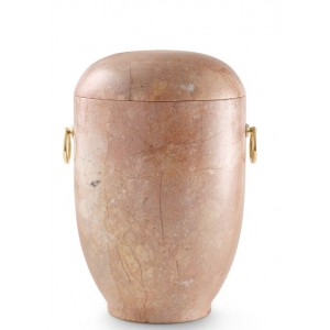 Marble Natural Asian Stone Cremation Ashes Urn / Casket - Rose Carrera Pink with Inclusions & Gold Rings