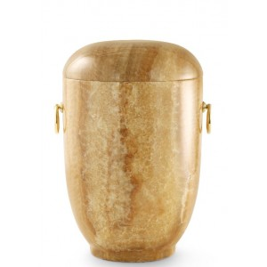 Marble Natural Asian Stone Cremation Ashes Urn / Casket – Carrera Onyx Honey Coloured & Gold Rings