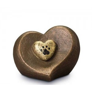 Exclusive Ceramic Cremation Ashes Urn Liquid Bronze – Heart with Pawprint (Capacity - 1.0 litres)