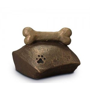 Exclusive Ceramic Cremation Ashes Urn Liquid Bronze – Bone, Pillow & Pawprint (Capacity 1.0 litres)