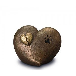 Exclusive Ceramic Cremation Ashes Urn Liquid Bronze – Broken Heart & Pawprint (Capacity 1.0 litres)