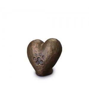 Exclusive Ceramic Cremation Ashes Urn Liquid Bronze – Heart & Pawprint (Capacity 0.1 litres)