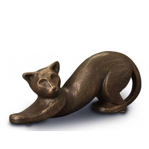 Exclusive Ceramic Cremation Ashes Urn Liquid Bronze – Relaxing Cat (Capacity 0.5 litres)