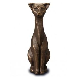 Exclusive Ceramic Cremation Ashes Urn Liquid Bronze – Proud Cat (Capacity 0.7 litres)