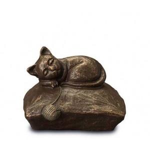 Exclusive Ceramic Cremation Ashes Urn Liquid Bronze – Resting Pussycat (Capacity 1.0 litres)