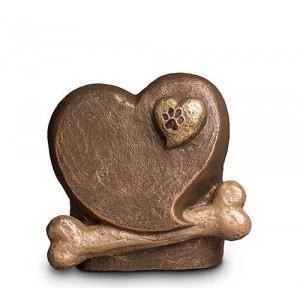 Exclusive Ceramic Cremation Ashes Urn Liquid Bronze – Heart, Paw & Bone (Capacity 1.5 litres)