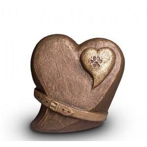 Exclusive Ceramic Cremation Ashes Urn Liquid Bronze – Heart, Paw & Collar (Capacity 1.5 litres)