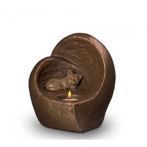 Exclusive Ceramic Cremation Ashes Candle Holder Urn Liquid Bronze – Cat (Capacity 0.5 litres)
