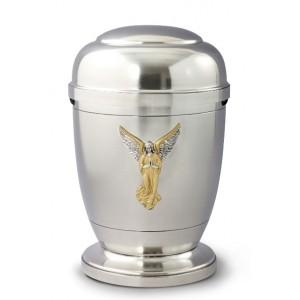 La Leonessa Edition Polished Fine Pewter / Tin Cremation Ashes Urn – Angel Decoration