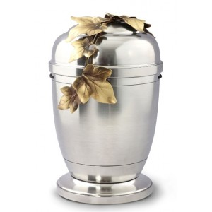 La Leonessa Edition Polished Fine Pewter / Tin Cremation Ashes Urn – Ivy Tendril Decoration