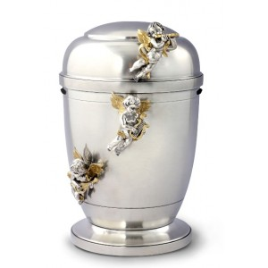 La Leonessa Edition Polished Fine Pewter / Tin Cremation Ashes Urn – Musician Angels Decoration