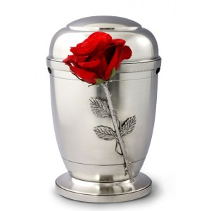 La Leonessa Edition Polished Fine Pewter / Tin Cremation Ashes Urn – Floral Rose Decoration
