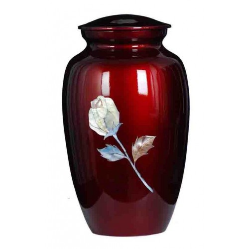 Rose (Mother of Pearl) Premium Quality Red Aluminium Urn