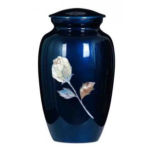 Rose (Mother of Pearl) Premium Quality Blue Aluminium Urn