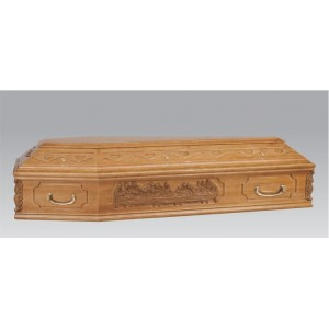 Premium Solid Wood LAST SUPPER Coffin - The Modena - High Gloss Oak Stain