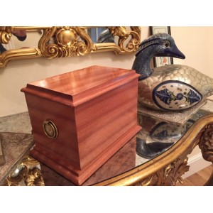Superior Antique Solid Plain Mahogany Cremation Ashes Casket