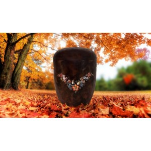 Biodegradable Urn - Autumn Bronze with Beautiful Hand Painted Flowering Garland **The Natural Choice**