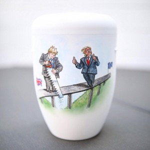 Biodegradable Cremation Ashes Funeral Urn / Casket – BREXIT (Boris Johnson & Donald Trump Trade)