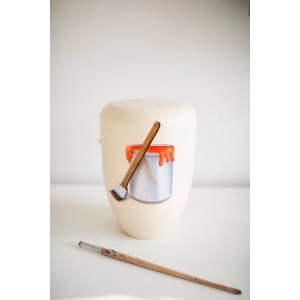 Biodegradable Cremation Ashes Funeral Urn / Casket – PAINT POT & BRUSH (The Artist / Painter)