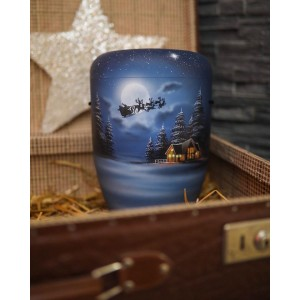 Biodegradable Cremation Ashes Funeral Urn – Father Christmas (Santa Claus), Sleigh & Reindeer