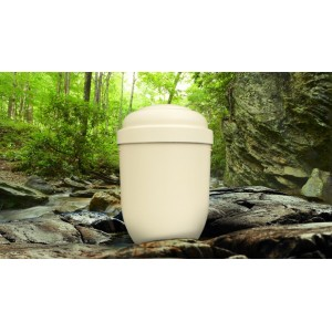 Biodegradable Cremation Ashes Funeral Urn / Casket - IVORY PEARL