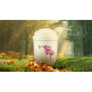 Biodegradable Cremation Ashes Funeral Urn / Casket - PINK ORCHIDS