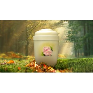 Biodegradable Cremation Ashes Funeral Urn / Casket - FLOWERING SINGLE ROSE