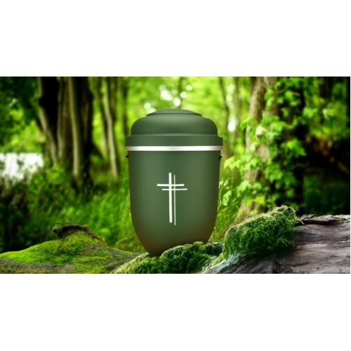 Biodegradable Cremation Ashes Funeral Urn / Casket - PARADISE GREEN with SILVER CROSS