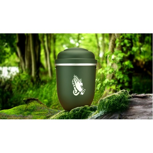 Biodegradable Cremation Ashes Funeral Urn / Casket - PARADISE GREEN with PRAYING HANDS