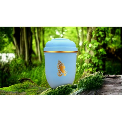 Biodegradable Cremation Ashes Funeral Urn / Casket - LIBERTY BLUE with PRAYING HANDS
