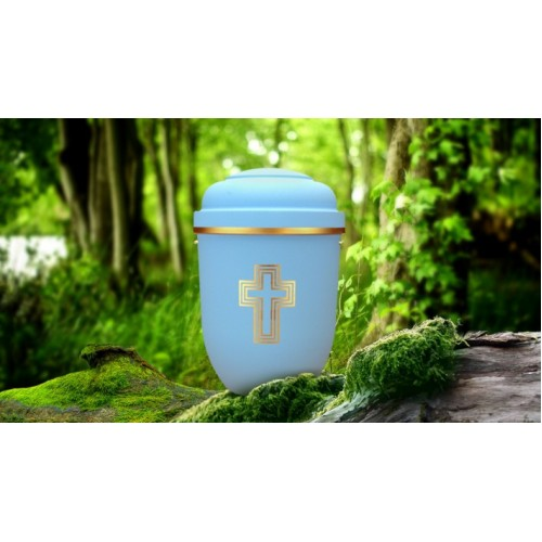 Biodegradable Cremation Ashes Funeral Urn / Casket - LIBERTY BLUE with BLESSED CROSS