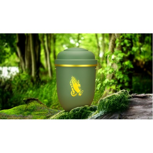 Biodegradable Cremation Ashes Funeral Urn / Casket - HIGHLAND GREEN with PRAYING HANDS