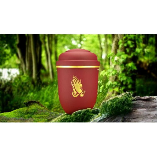 Biodegradable Cremation Ashes Funeral Urn / Casket - RED BEACON with GOLD PRAYING HANDS