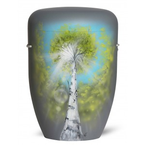 Biodegradable Cremation Ashes Funeral Urn / Casket – Birch Tree on Light Grey