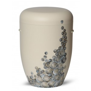 Biodegradable Cremation Ashes Funeral Urn / Casket – Curly Bubble Design – IVORY