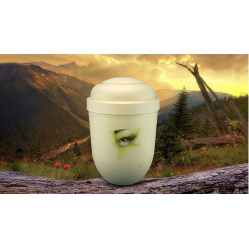 Biodegradable Cremation Ashes Funeral Urn / Casket - IVORY & GREEN TEARDROP