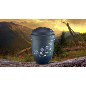 Biodegradable Cremation Ashes Funeral Urn / Casket - GREY FLORAL DECORATION